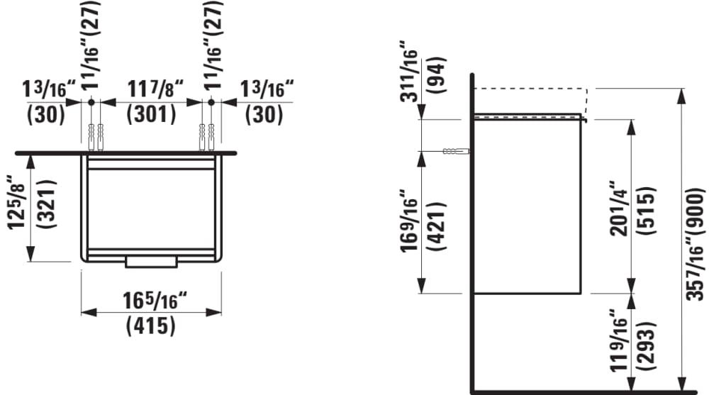Vanity unit, 1 door, door hinge right, incl. drawer
